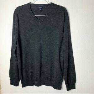 J. Crew Italian Merino Wool V Neck Gray Sweater L